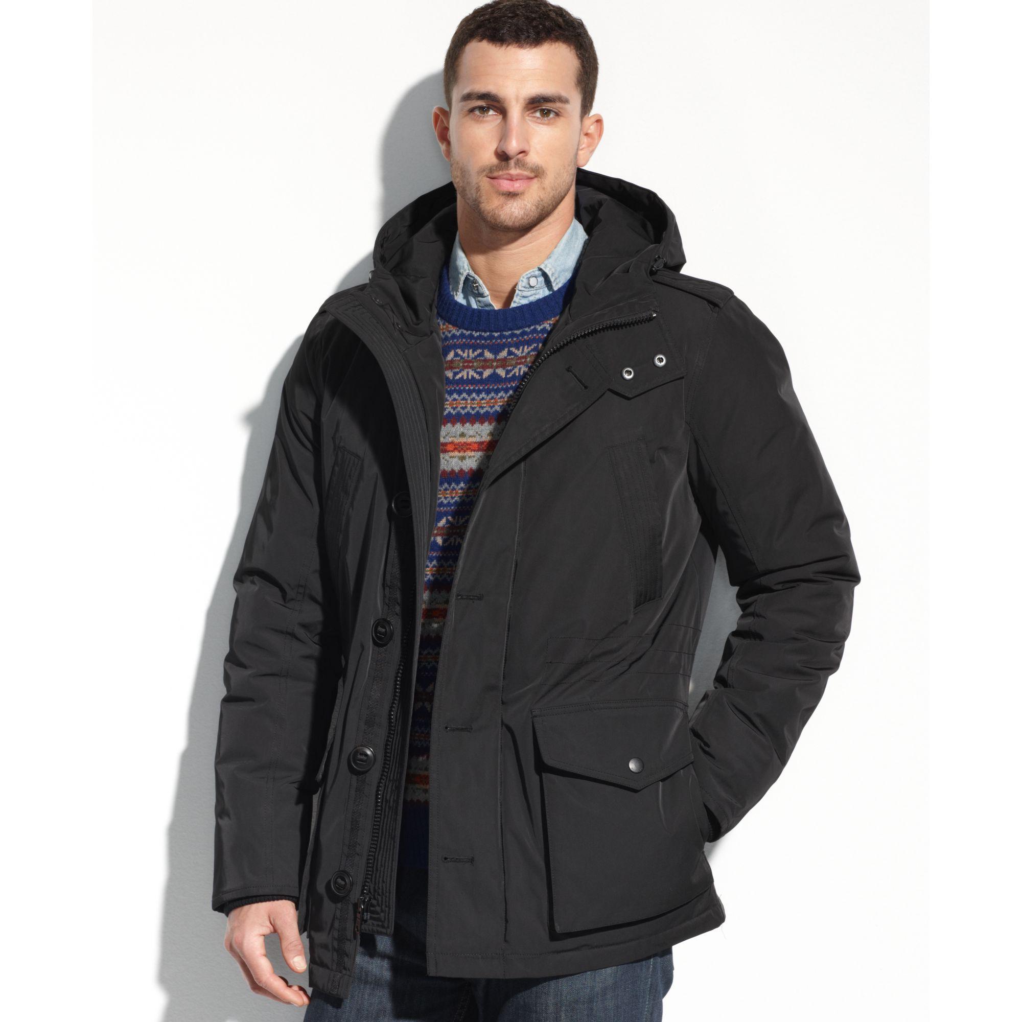 tommy hilfiger hooded parka coat in black for men lyst. Black Bedroom Furniture Sets. Home Design Ideas