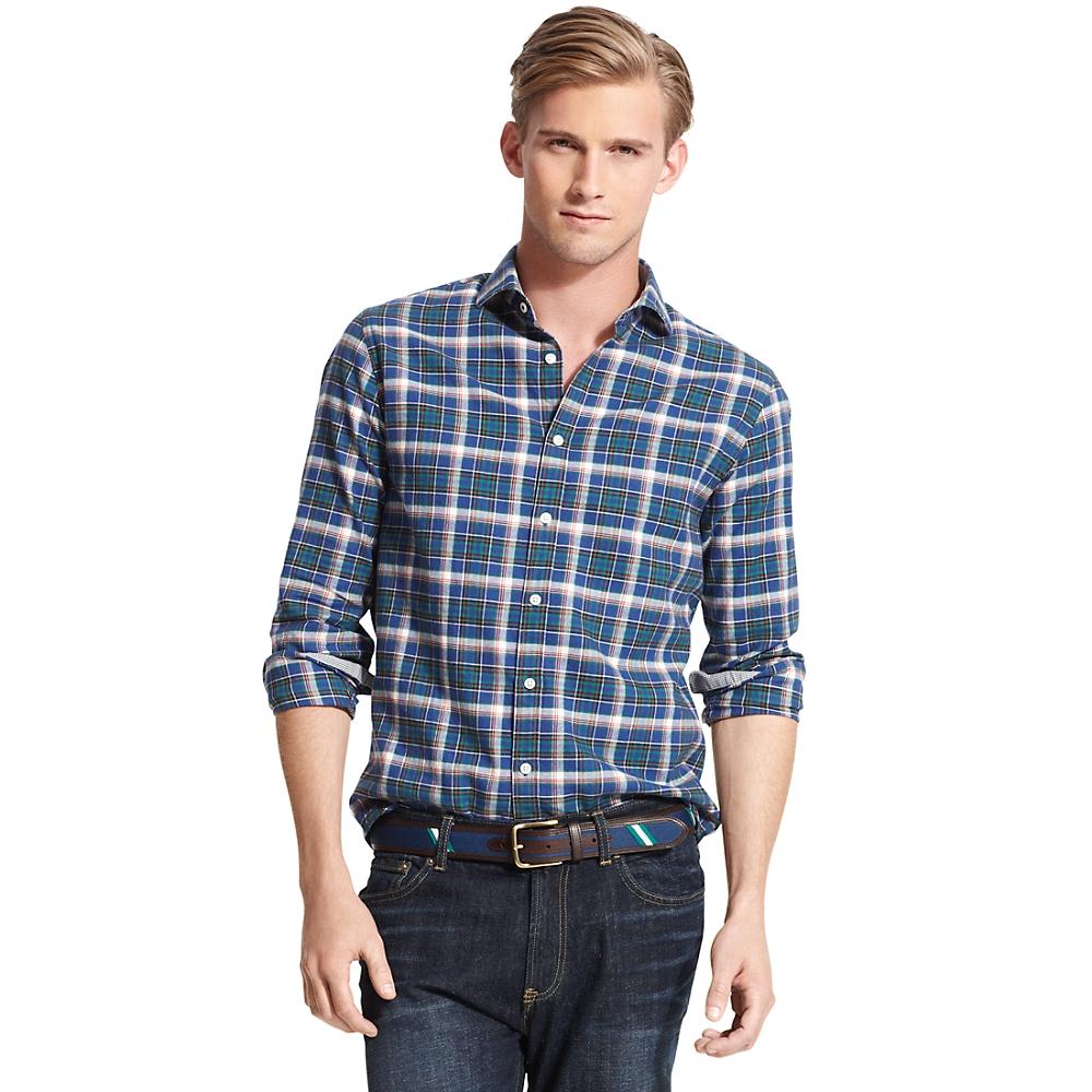 tommy hilfiger new york fit check shirt in blue for men. Black Bedroom Furniture Sets. Home Design Ideas