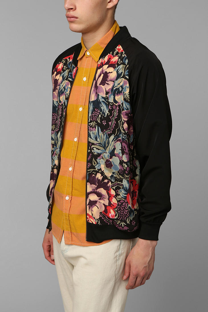 Urban outfitters Urban Renewal Floral Bomber Jacket in Black for ...