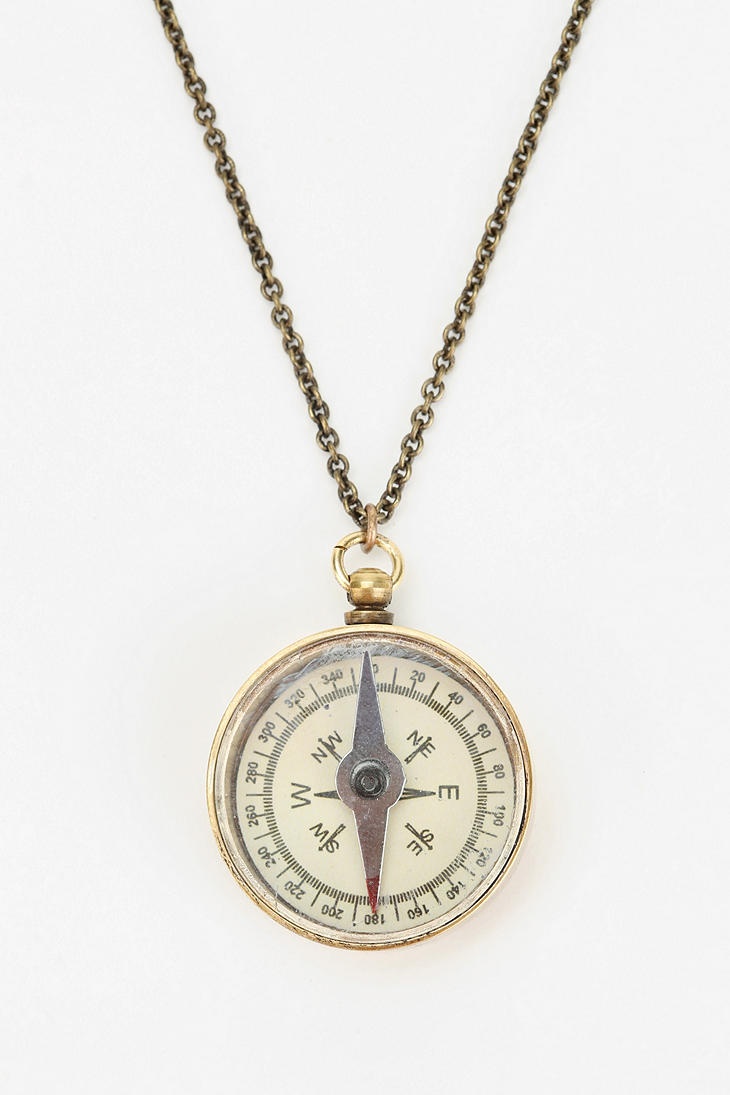 necklace in yellow gold compass diamond tw