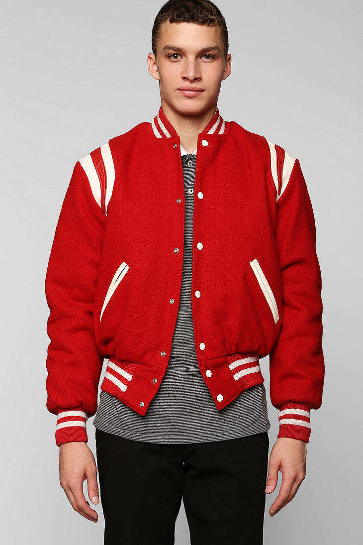 Lyst Urban Outfitters Vintage Red Varsity Jacket In Red