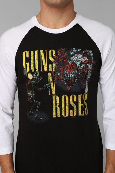 Urban Outfitters Guns N Roses Raglan Tee In White For Men