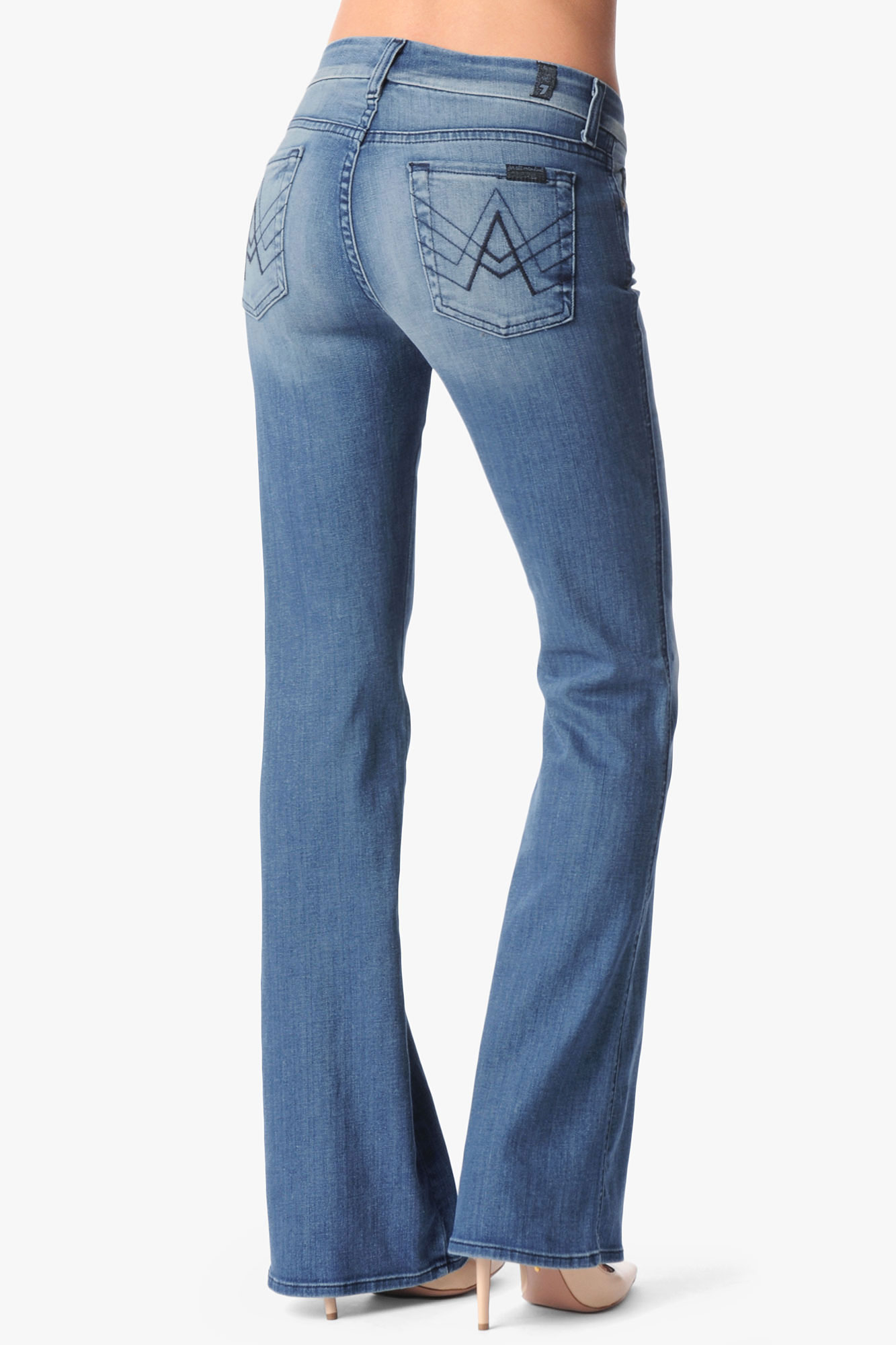7 for all mankind Lexie Petite A Pocket Flare in Blue | Lyst