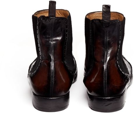 Alberto Fasciani Wingtip Leather Chelsea Boots In Black