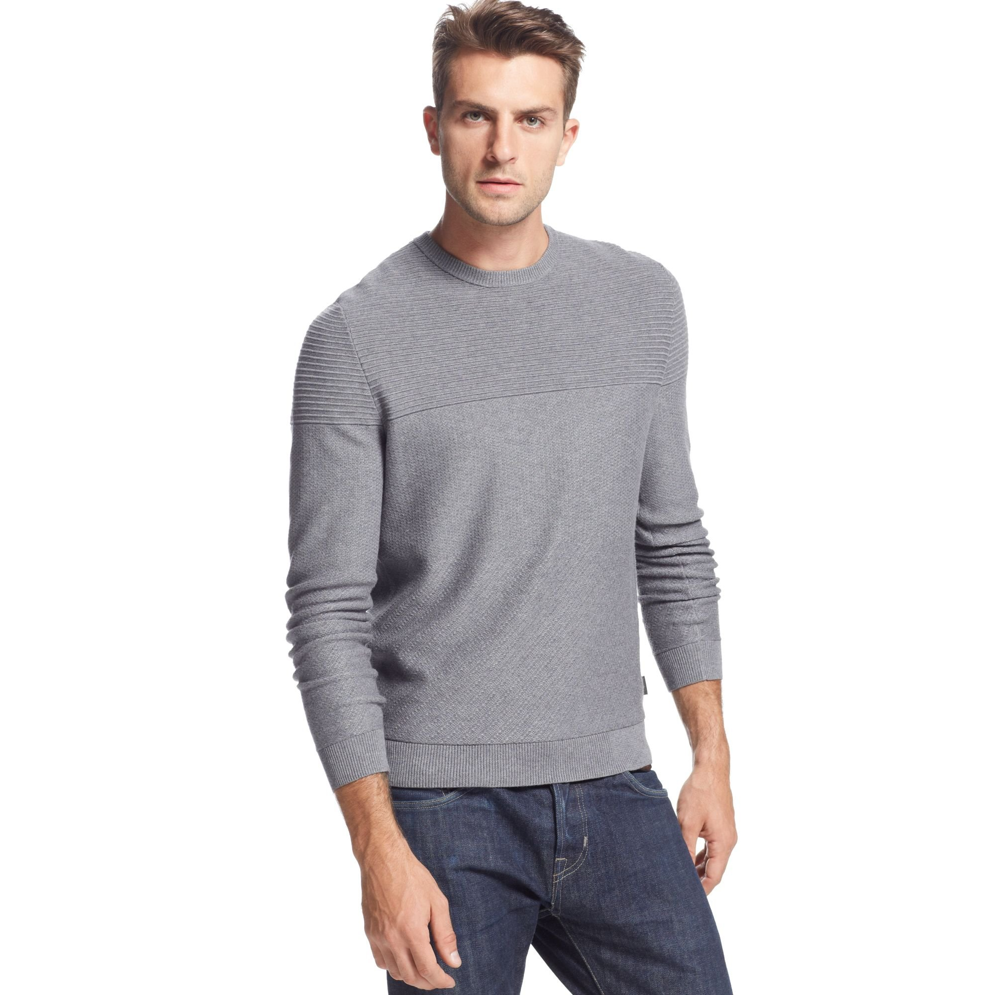 hugo boss boss black sweater niato sweater in gray for men medium. Black Bedroom Furniture Sets. Home Design Ideas