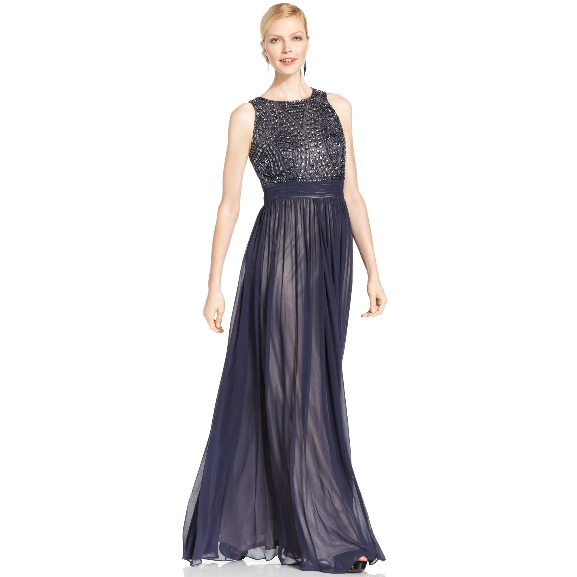 Lyst Js Collections Sleeveless Beaded Empirewaist Gown In Blue