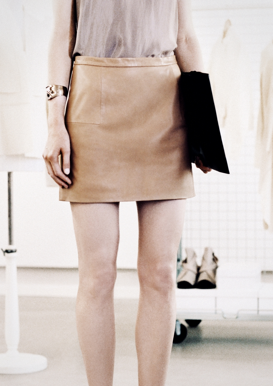 & other stories Leather Mini Skirt in Natural | Lyst
