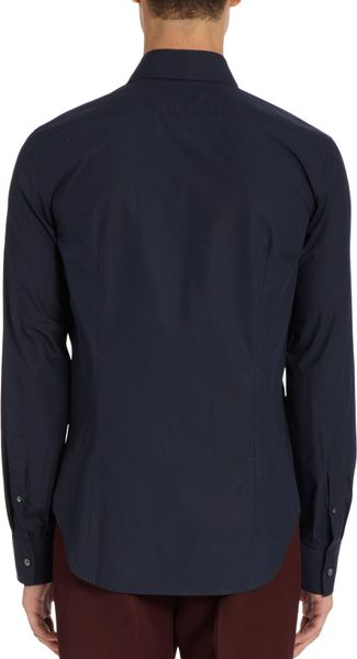 Raf simons wide spreadcollar shirt in blue for men navy for Wide spread collar shirt