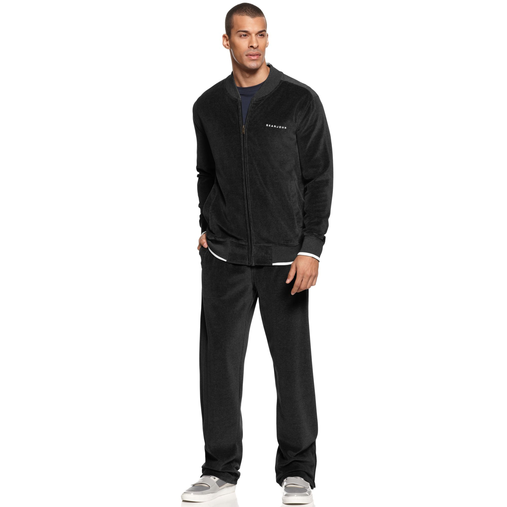 Sean John Velour Jacket and Pants in Gray for Men (PM Black) | Lyst