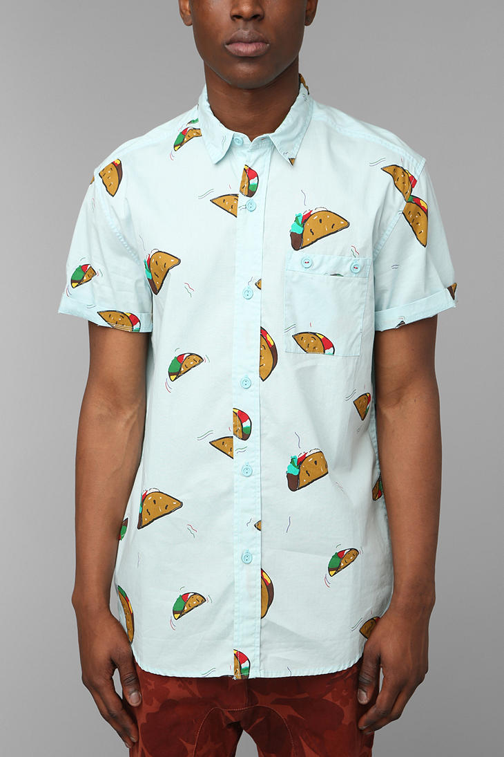 lyst urban outfitters the taco buttondown shirt in blue