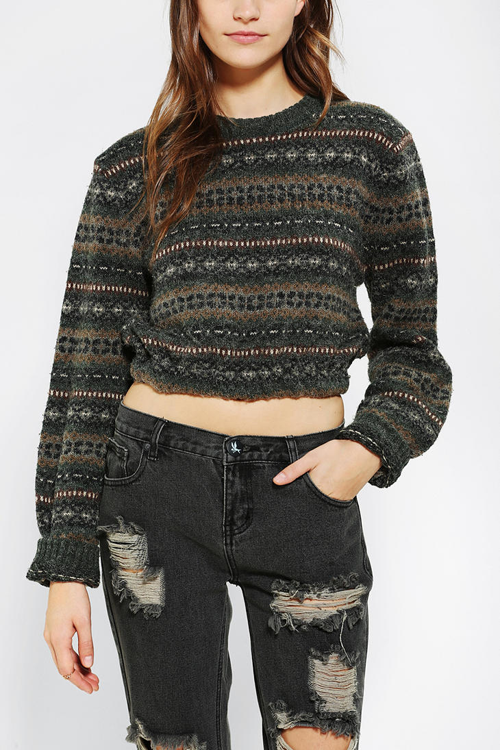 Urban outfitters Urban Renewal Cropped Fair Isle Sweater in Green ...