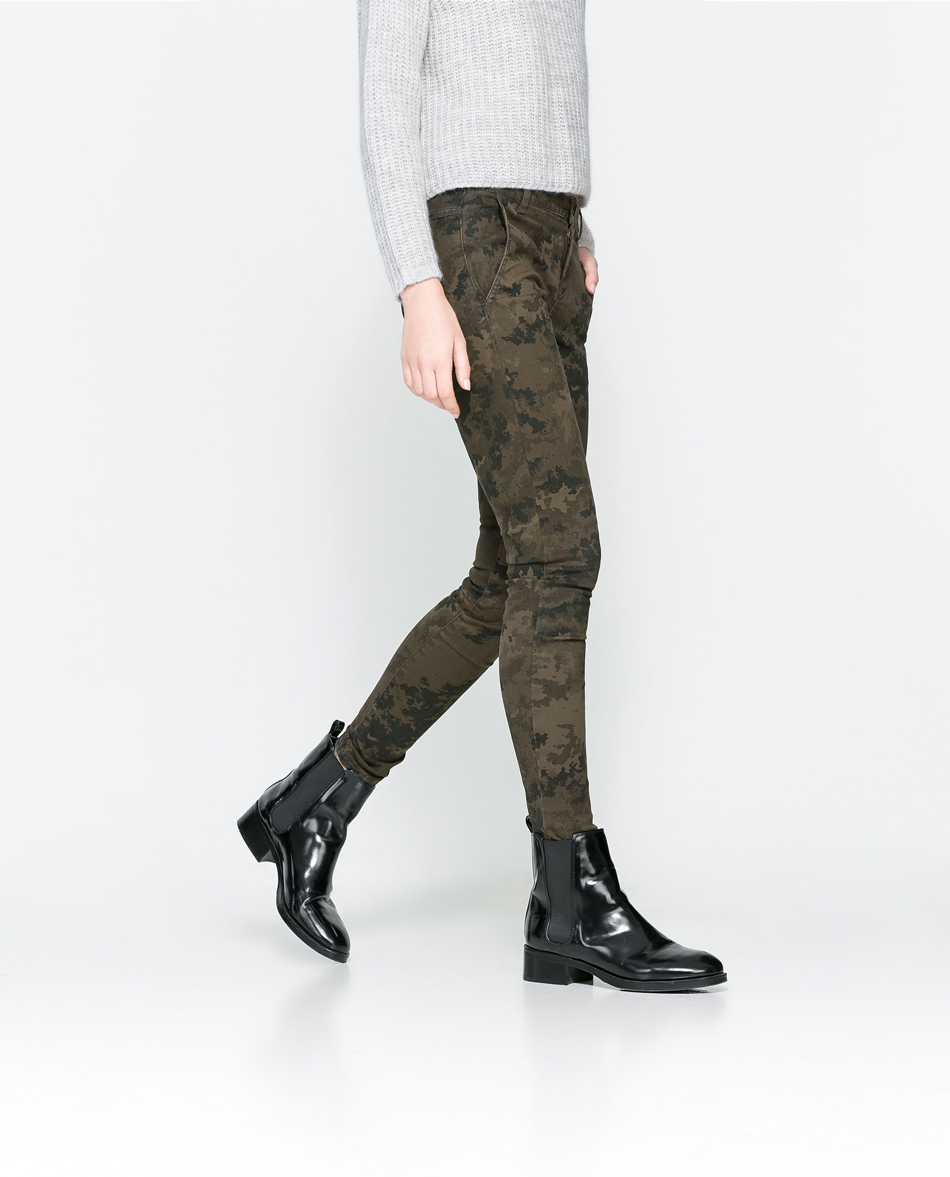 Creative Zara Camouflage Trousers With Zips In Green  Lyst