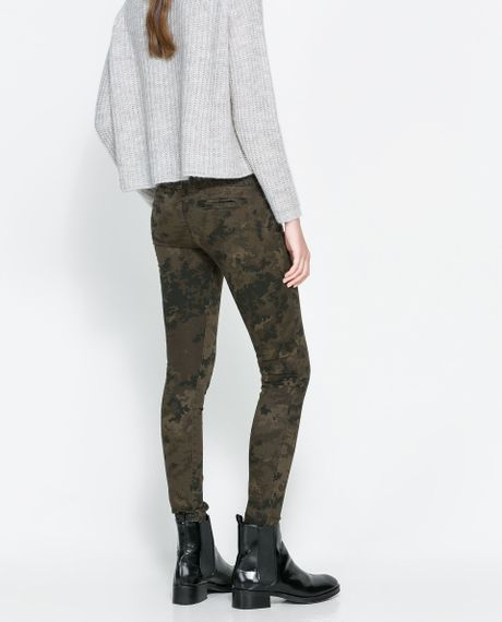 Simple Zara Camouflage Trousers With Zips In Gray  Lyst
