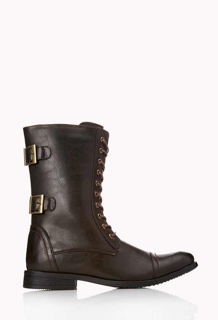 21men buckled combat boots in brown for lyst