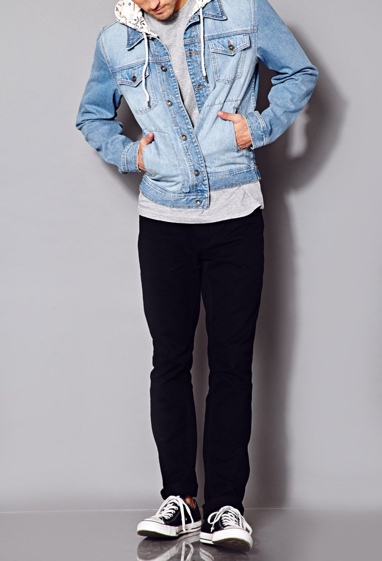 Forever 21 Fresh Hooded Denim Jacket in Blue for Men | Lyst