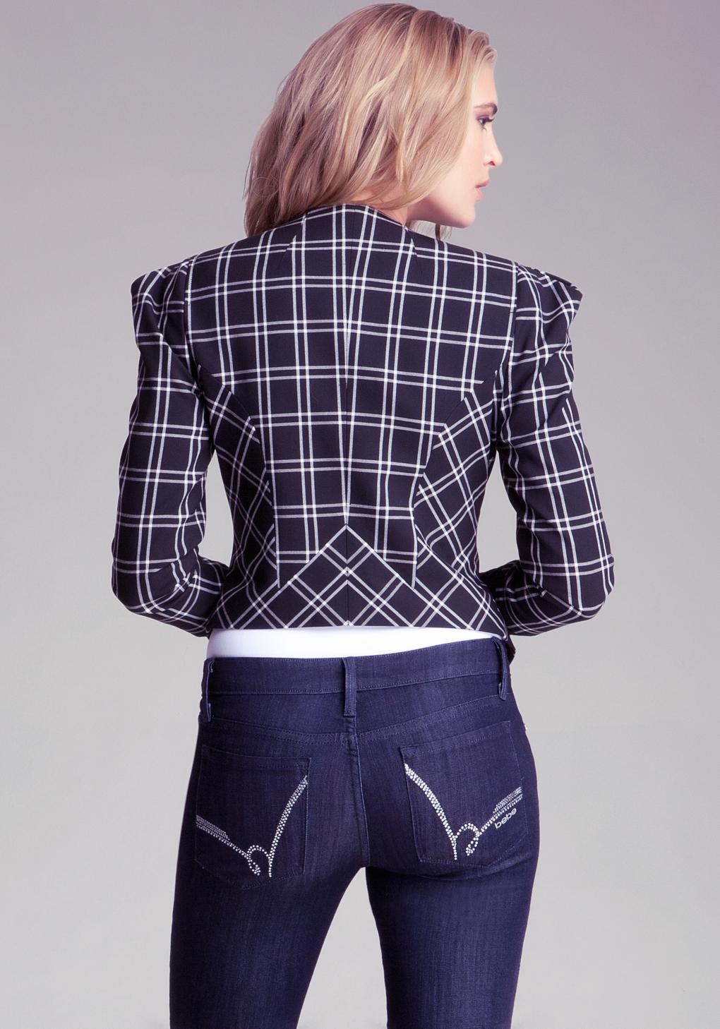 bebe plaid shoulder detail jacket in blue lyst. Black Bedroom Furniture Sets. Home Design Ideas