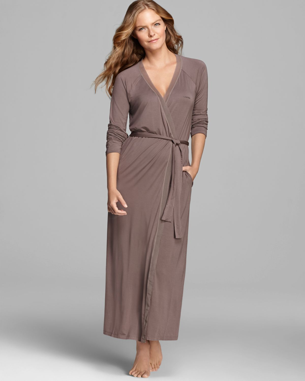 Lyst - Calvin Klein Icon Long Robe in Brown