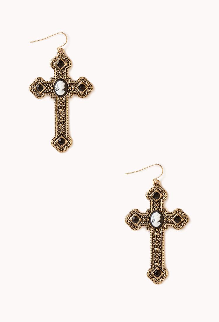 Forever 21 baroque cameo cross earrings in gold black for Forever 21 jewelry earrings