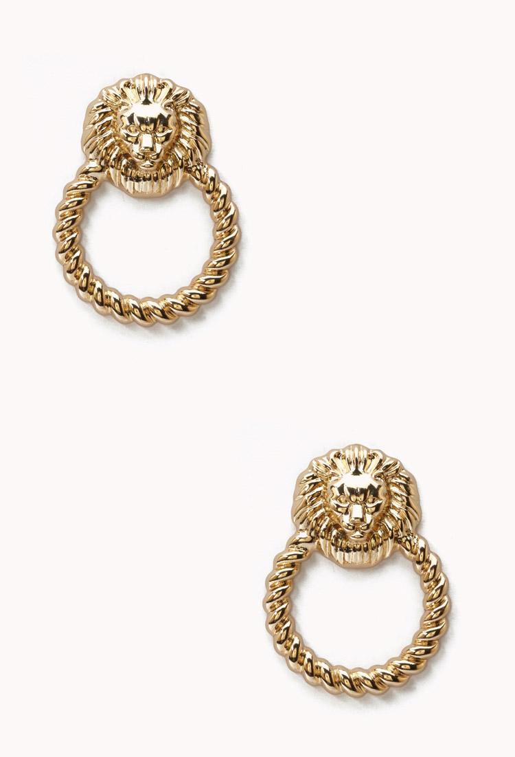 Forever 21 lion door knocker earrings in gold lyst for Forever 21 jewelry earrings