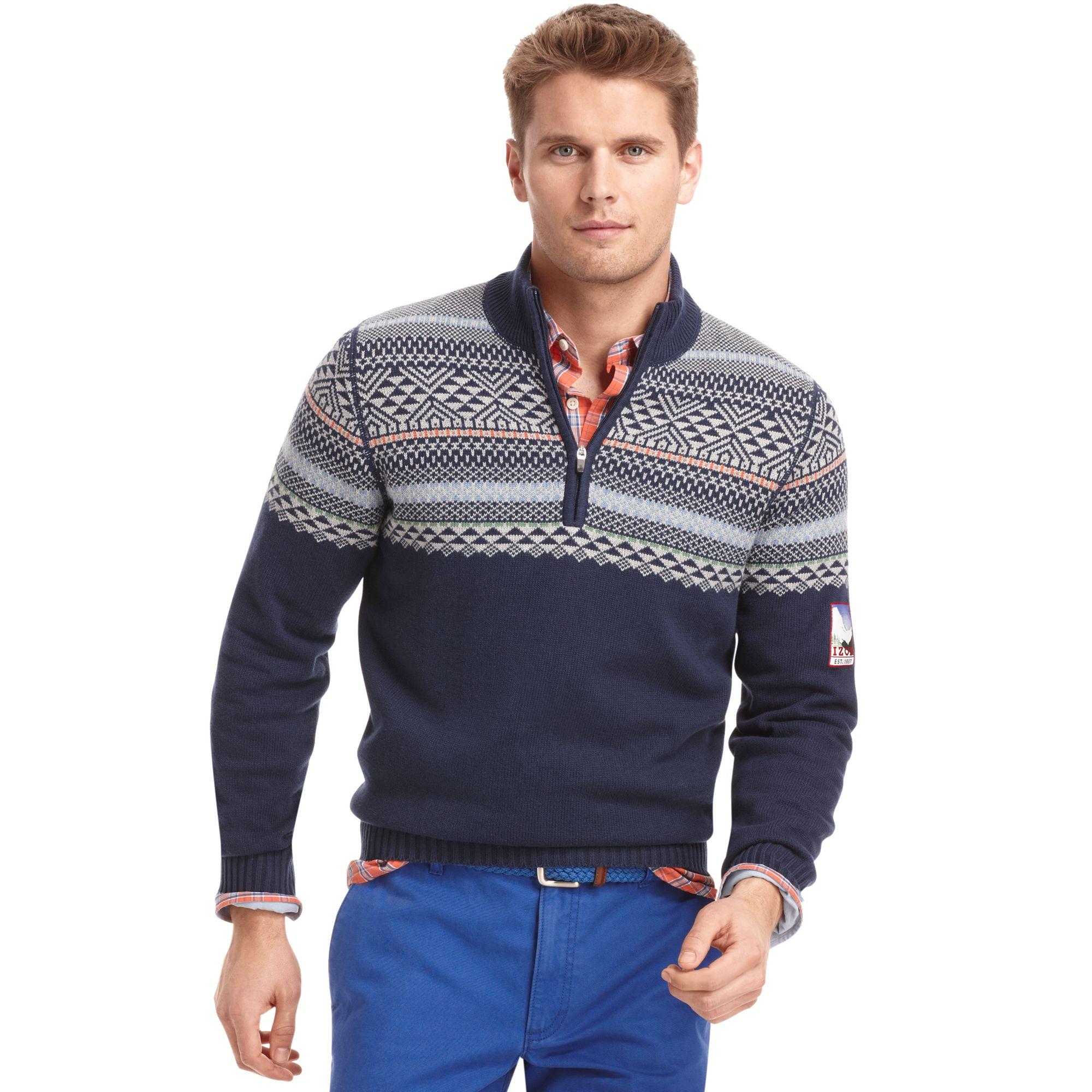 Izod big and tall sweater quarterzip mock neck fair isle for Big and tall mock turtleneck shirt