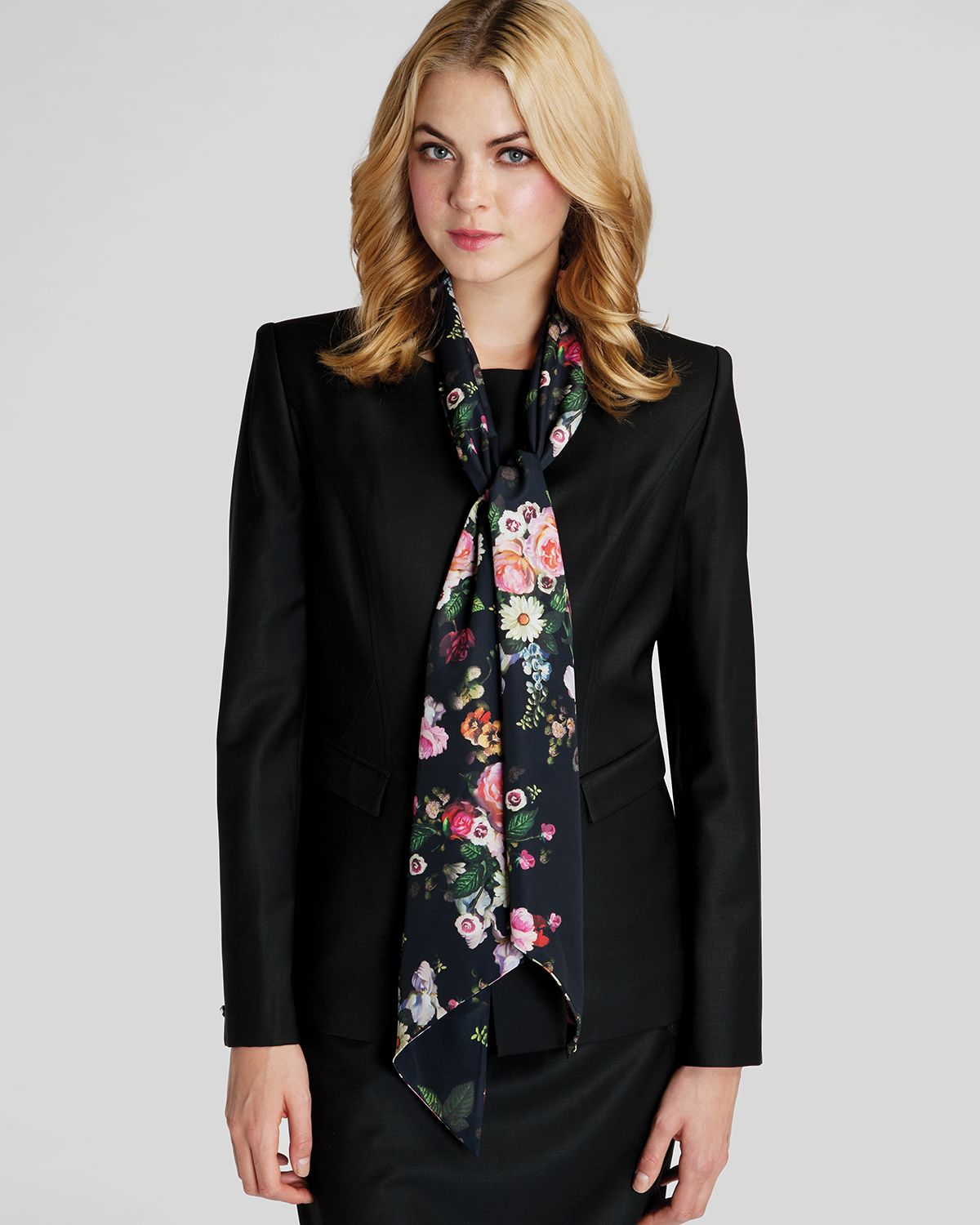 ted baker orozo painting scarf in black lyst