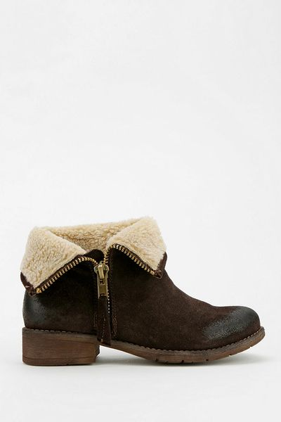 outfitters ecote fuzzy foldover ankle boot in brown