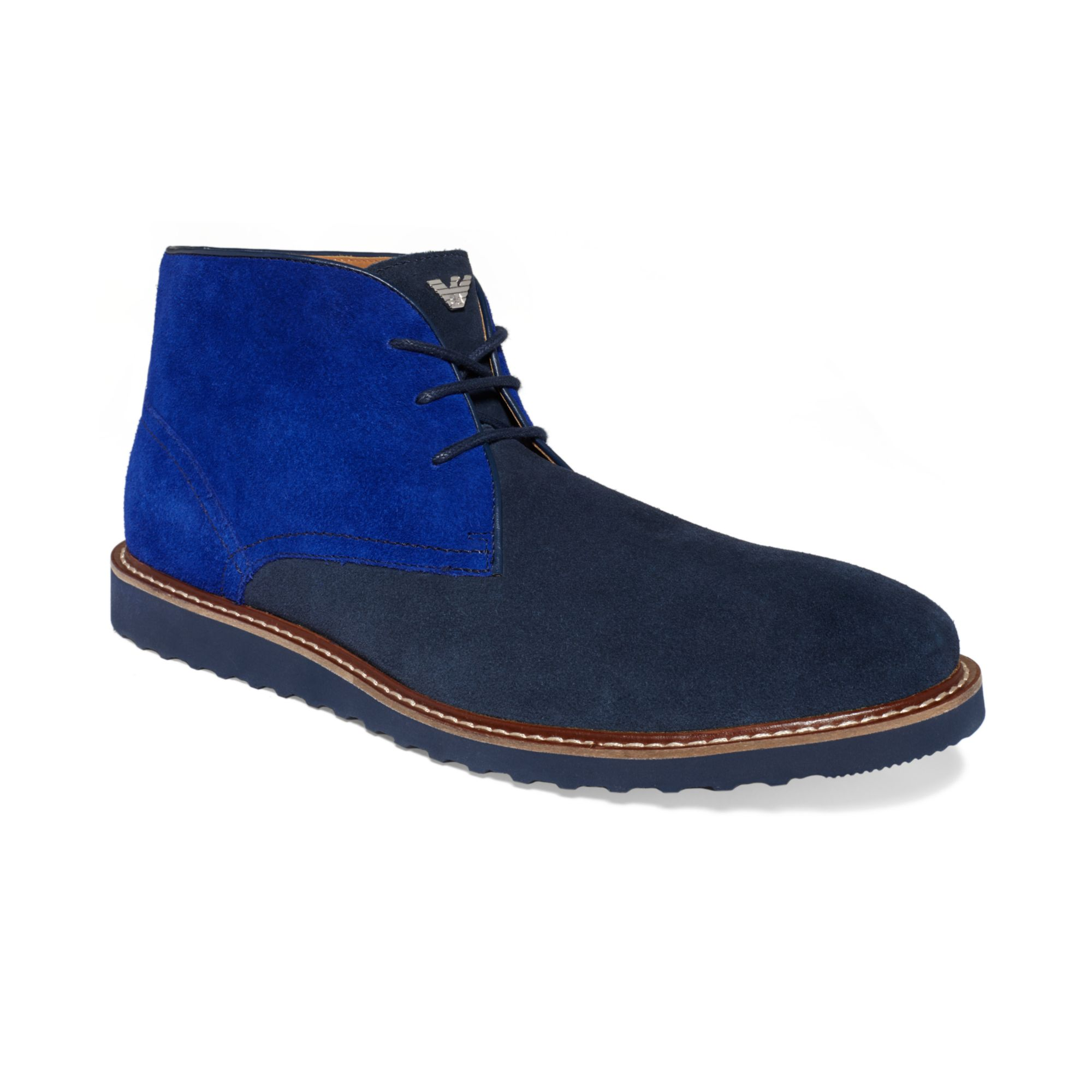 Armani Jeans Suede Chukka Boots In Blue For Men Lyst