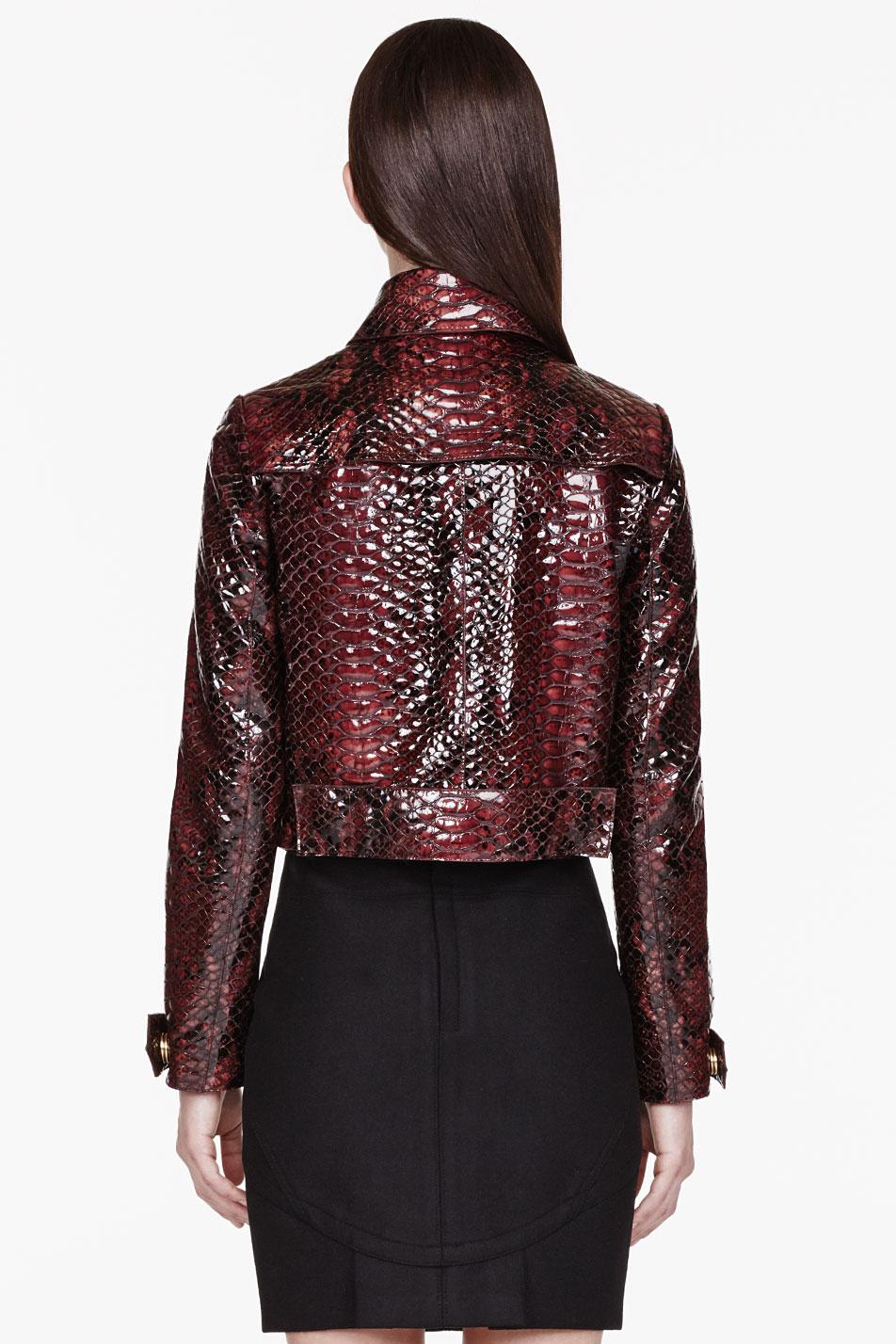 Burberry Prorsum Burgundy Patent Leather Python Jacket in