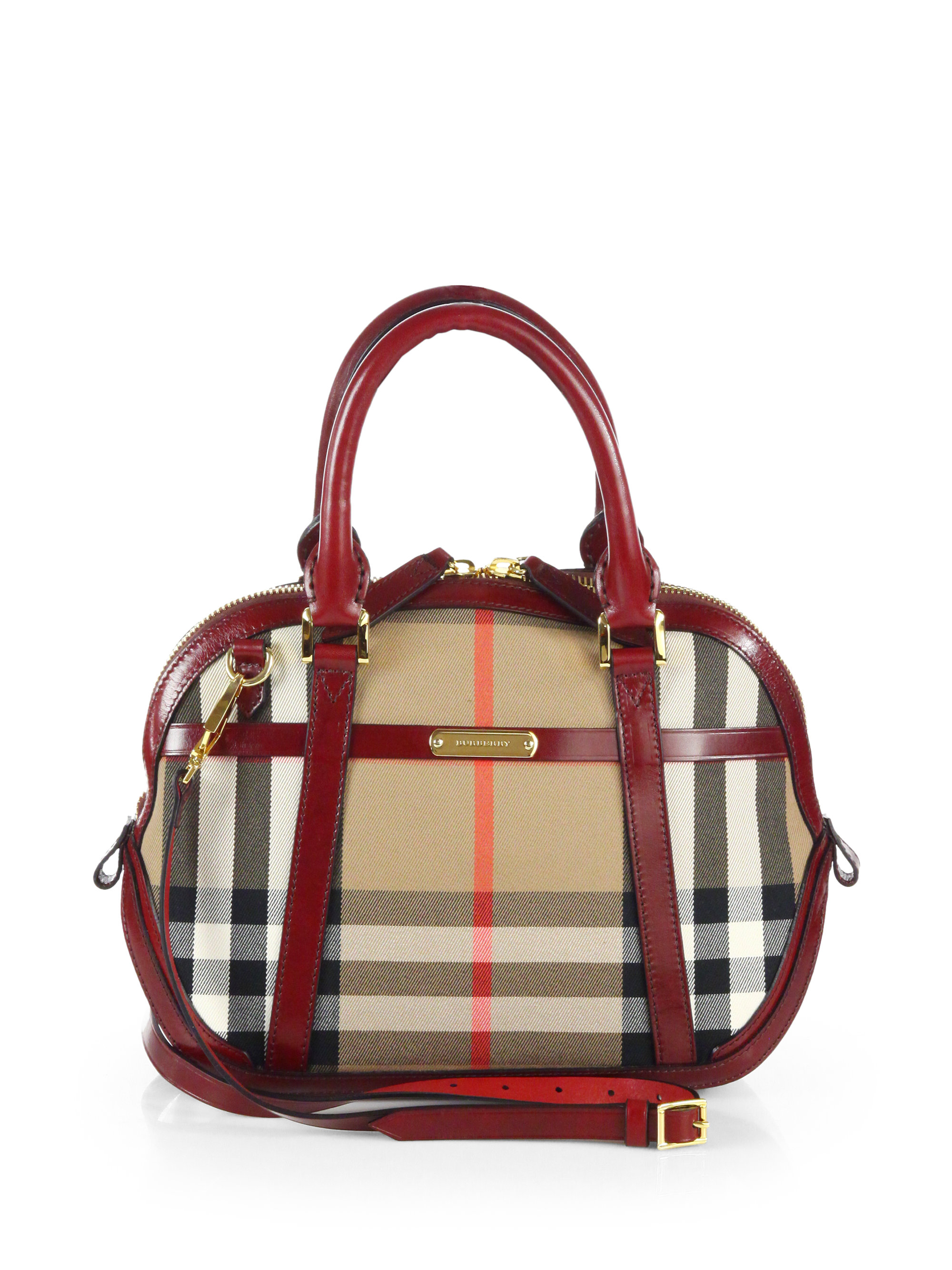 5b19231a093d Lyst - Burberry Orchard Small Checkprint Bowling Bag in Red