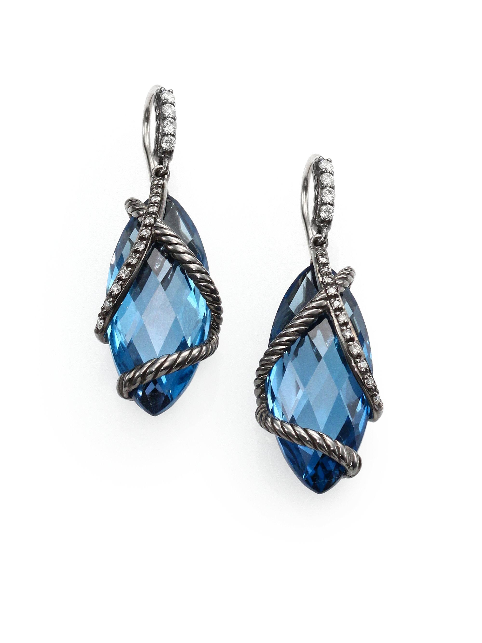 David Yurman Hampton Blue Topaz Diamond Wrapped Marquis