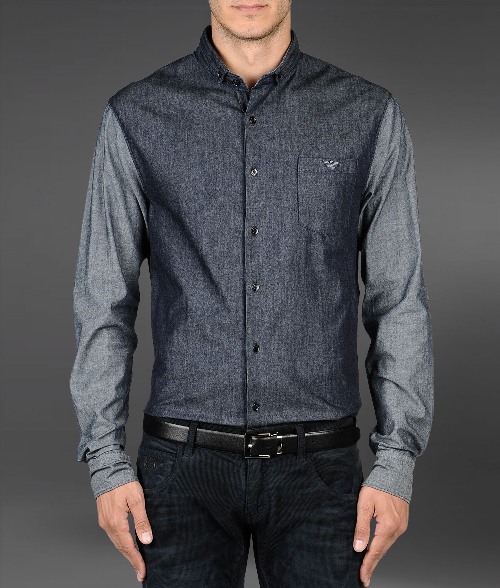 lyst emporio armani shirt in denim effect cotton in blue