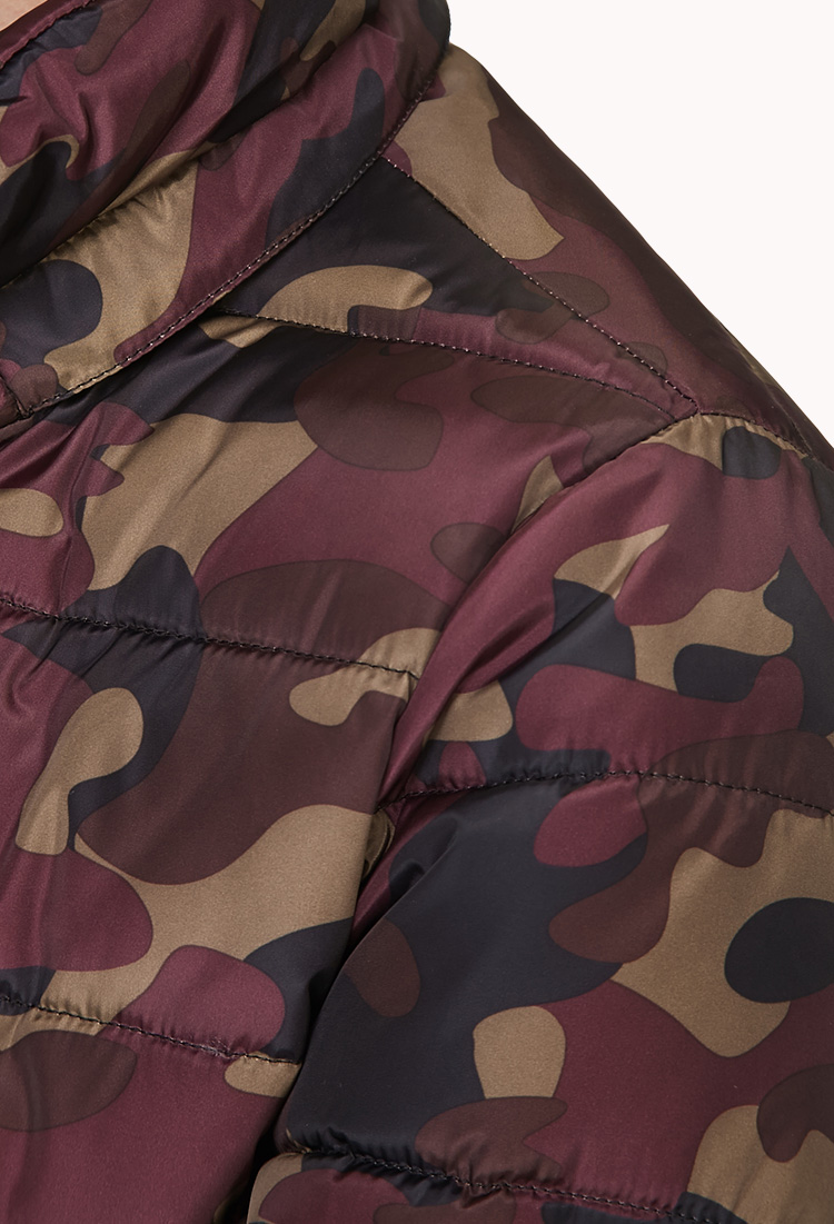 3e323f71091b6 Forever 21 Cushy Camo Bomber Jacket in Red - Lyst