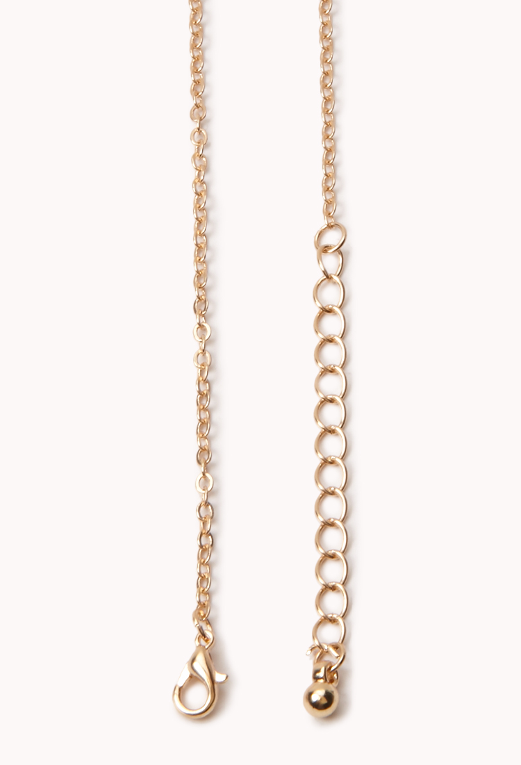 Lyst Forever 21 Dainty Love Chain Necklace In Metallic
