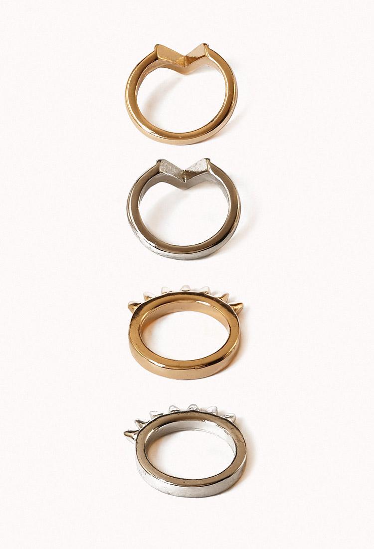 Chevron Midi Ring Set