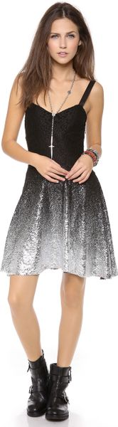 Free People Foil Ombre Lace Fit N Flare Dress In Black