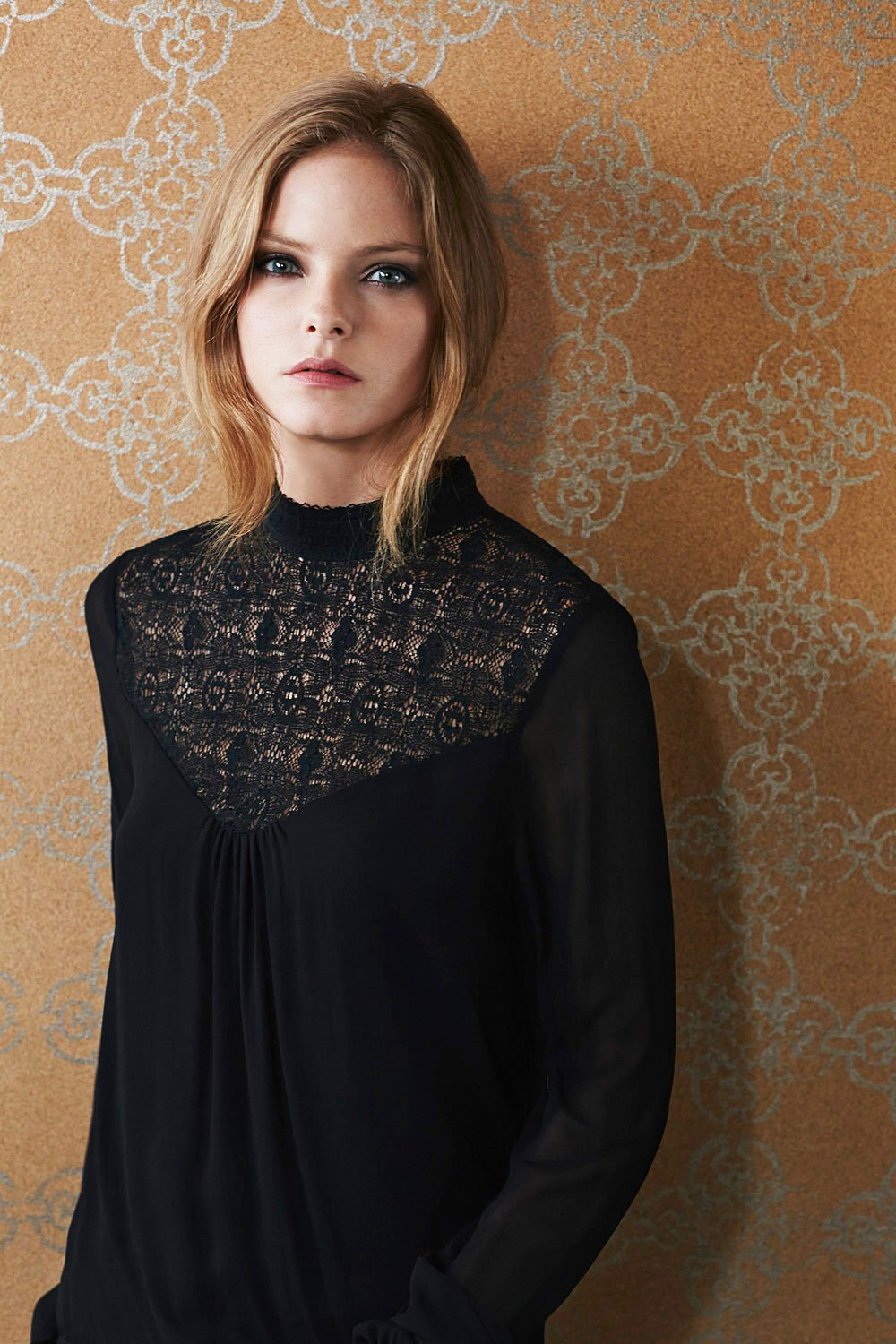 Velvet by graham & spencer Jaleesa Chiffon with Lace Turtleneck ...