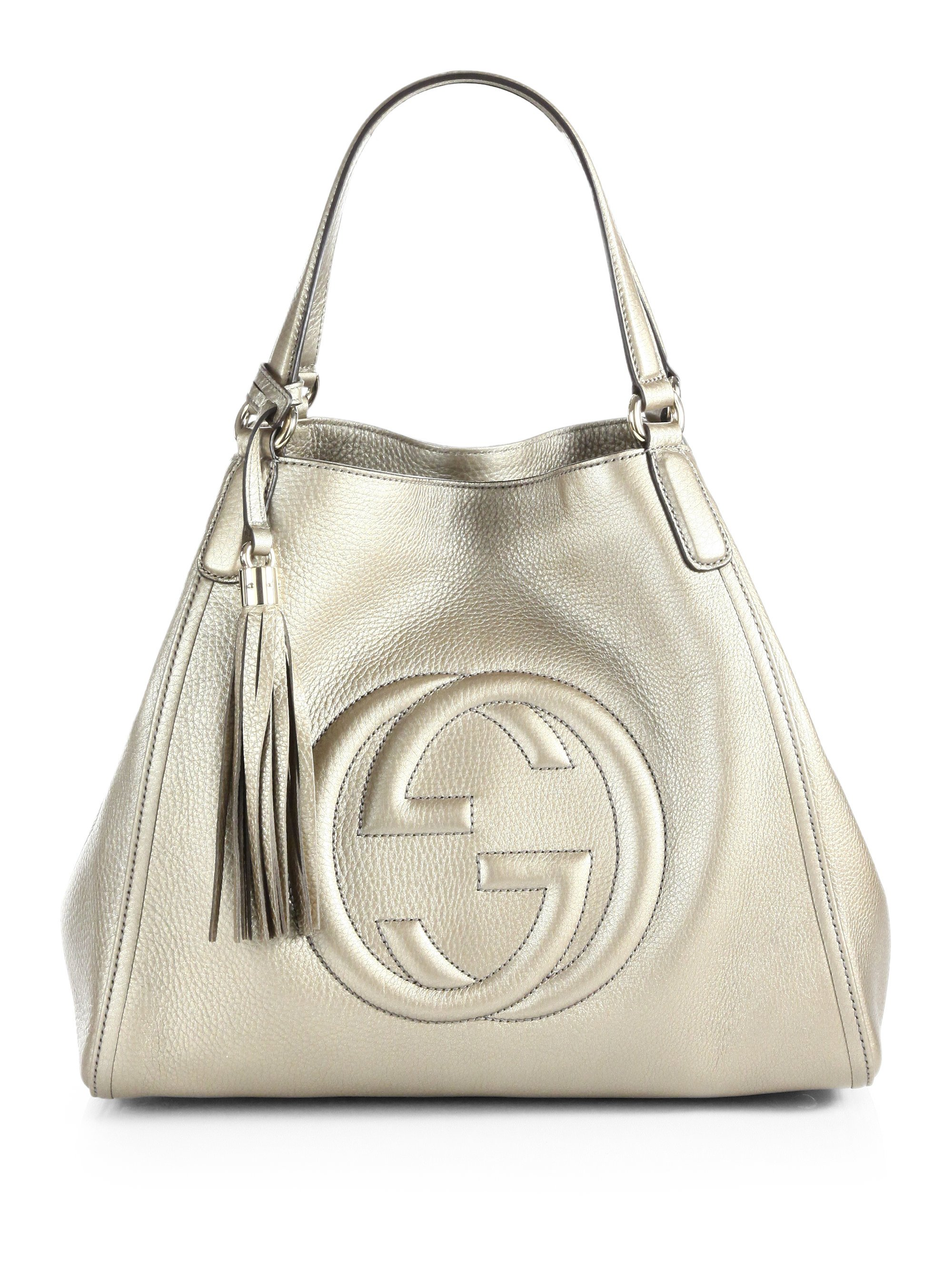 371cf0587b82 Lyst - Gucci Soho Metallic Leather Shoulder Bag in White