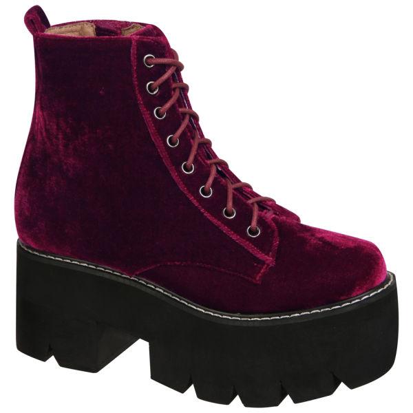 Jeffrey campbell Womens Siglin Velvet Platform Boots in Purple | Lyst