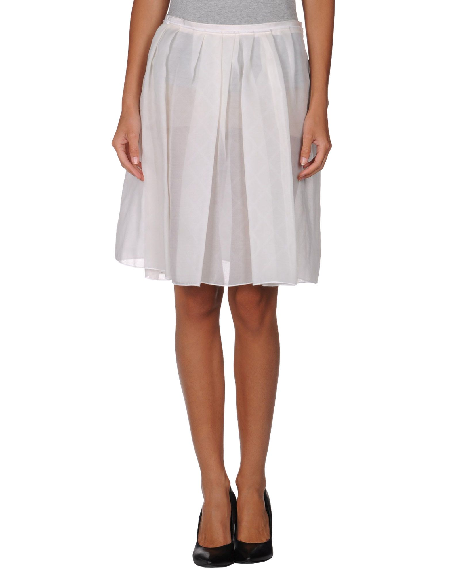 jil sander navy knee length skirt in white lyst
