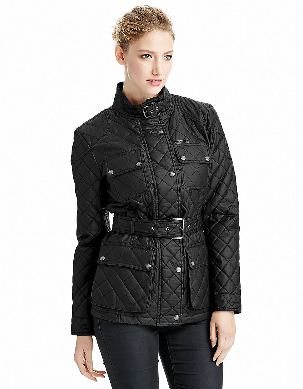 michael michael kors quilted jacket with belt in black lyst. Black Bedroom Furniture Sets. Home Design Ideas
