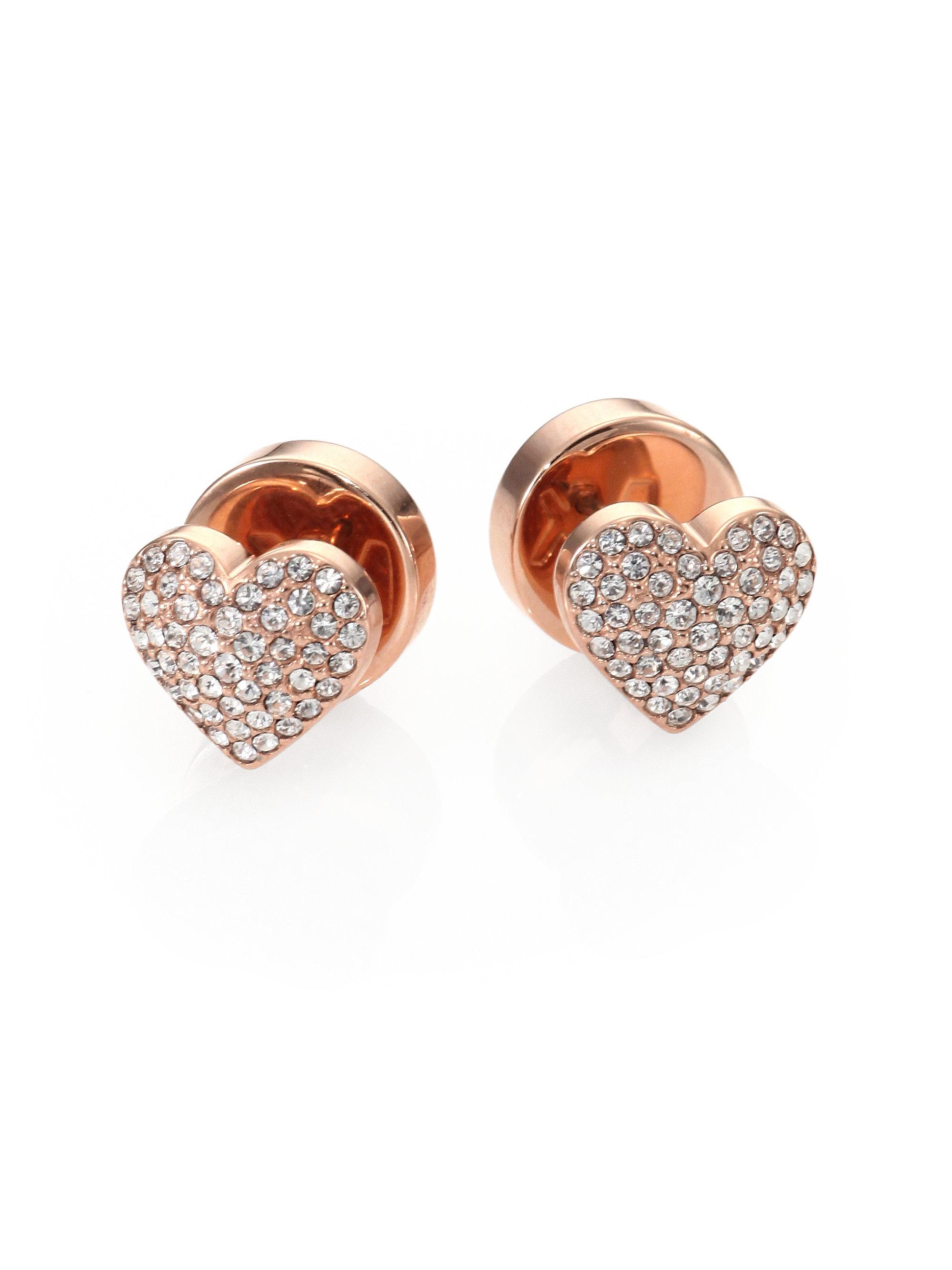 e25fec113f69 Lyst Michael Kors Pav Eacute Heart Stud Earrings In Metallic