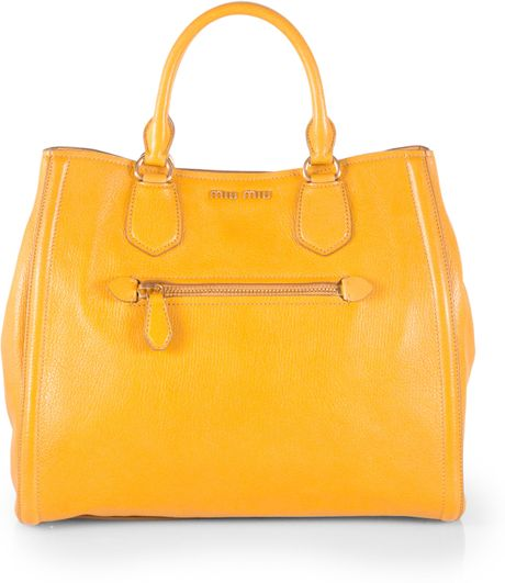 miu miu madras leather pocket tote in yellow lyst. Black Bedroom Furniture Sets. Home Design Ideas