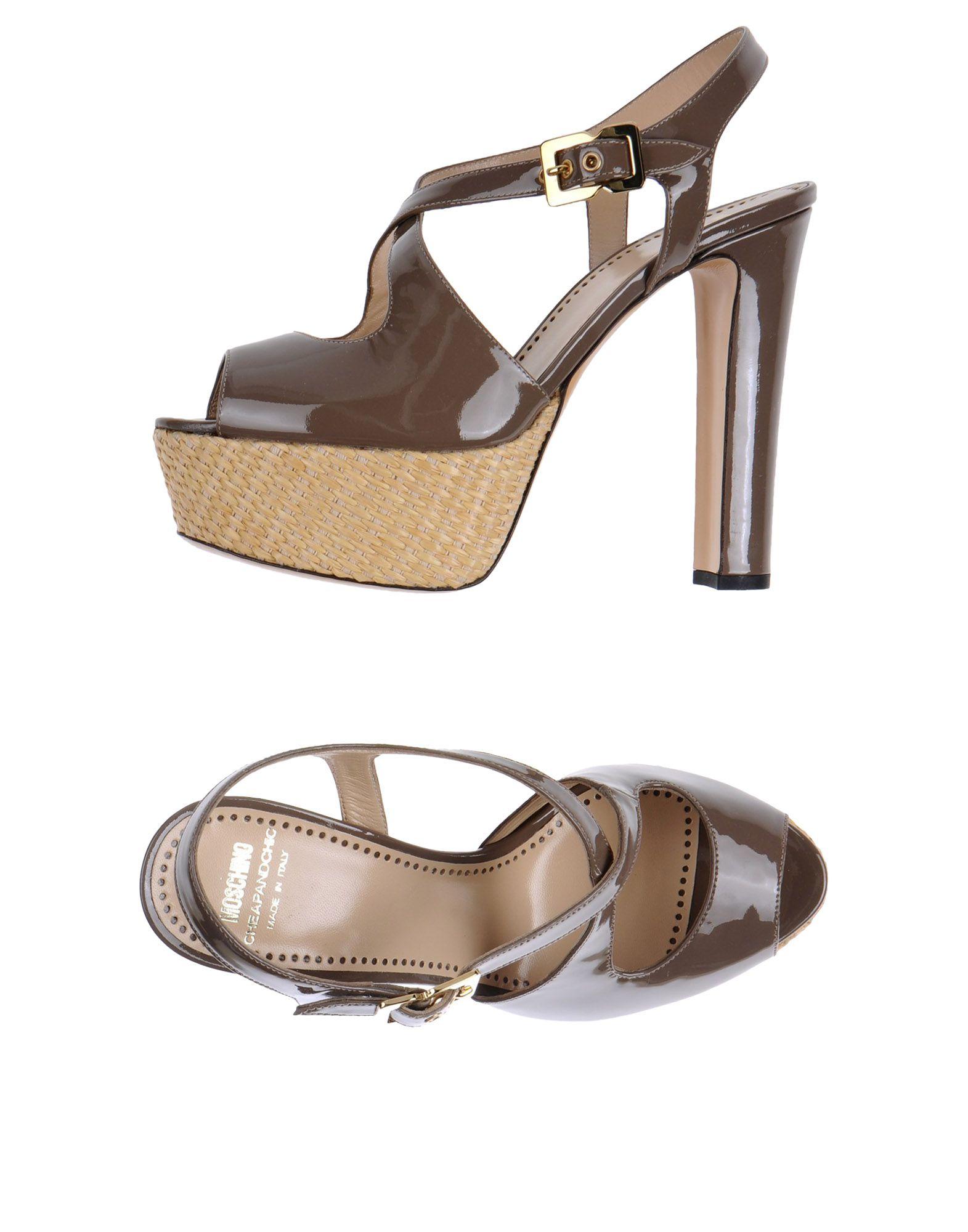 moschino cheap chic high0heel platform sandals in gray