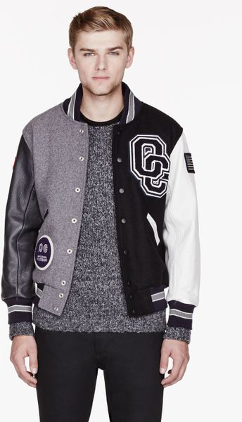Opening Ceremony Purple and Grey Leather_sleeved Varsity Jacket in Purple for Men