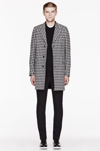 Paul Smith Black And White Wool Houndstooth Coat In For
