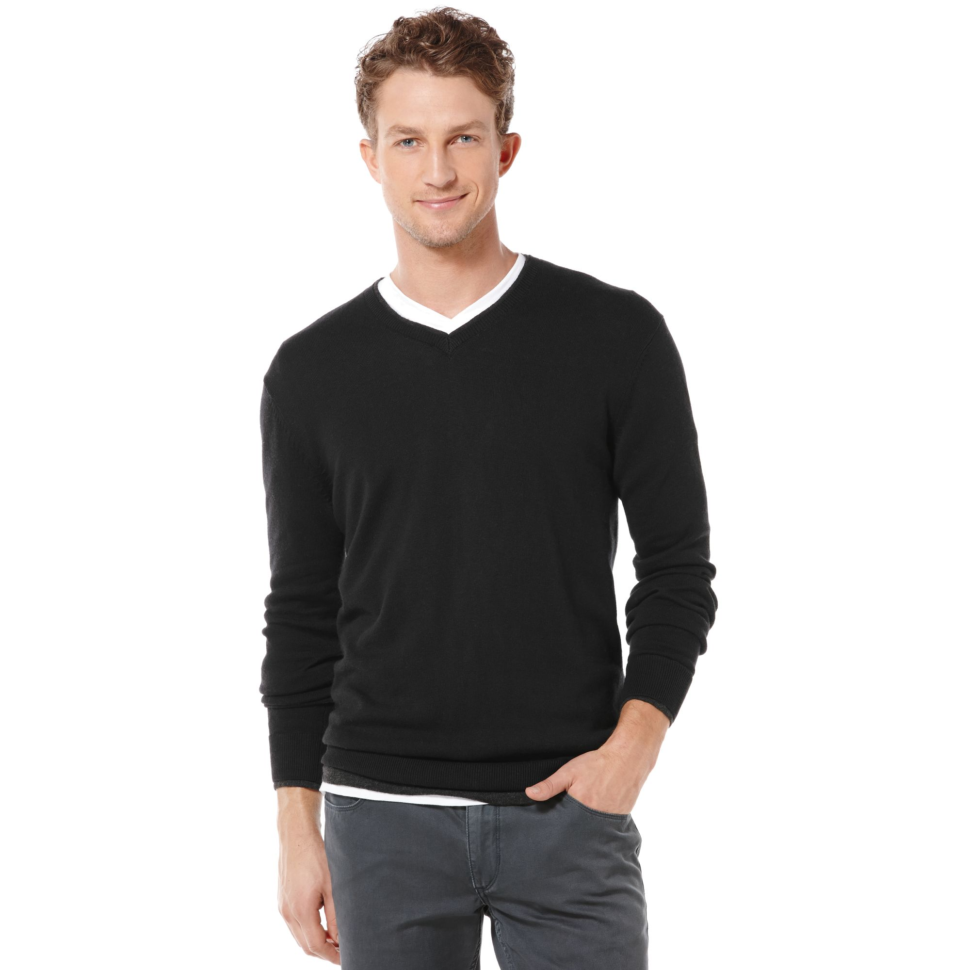 Lyst - Perry Ellis Tipped Vneck Solid Sweater in Black for Men 6c294dd37