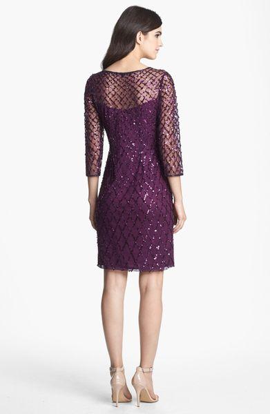 Pisarro Nights Beaded Short Dress In Purple Plum Lyst