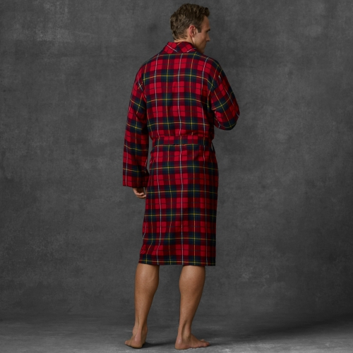 polo ralph lauren plaid flannel robe in red for men lyst. Black Bedroom Furniture Sets. Home Design Ideas