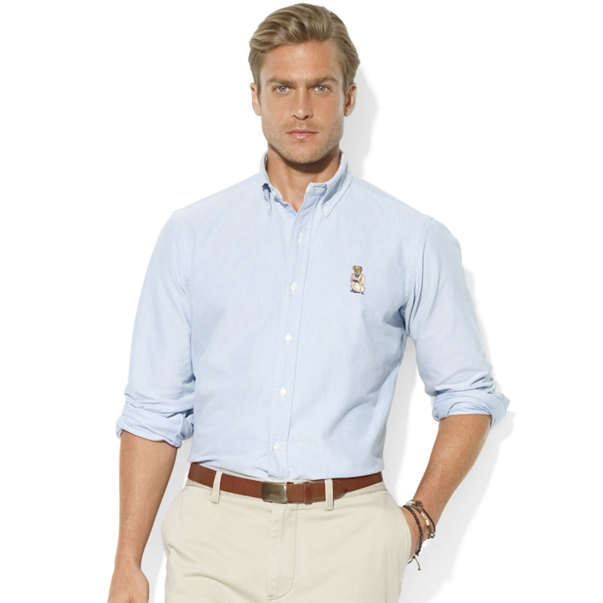 Lyst ralph lauren classicfit longsleeve cotton oxford for Men s athletic polo shirts