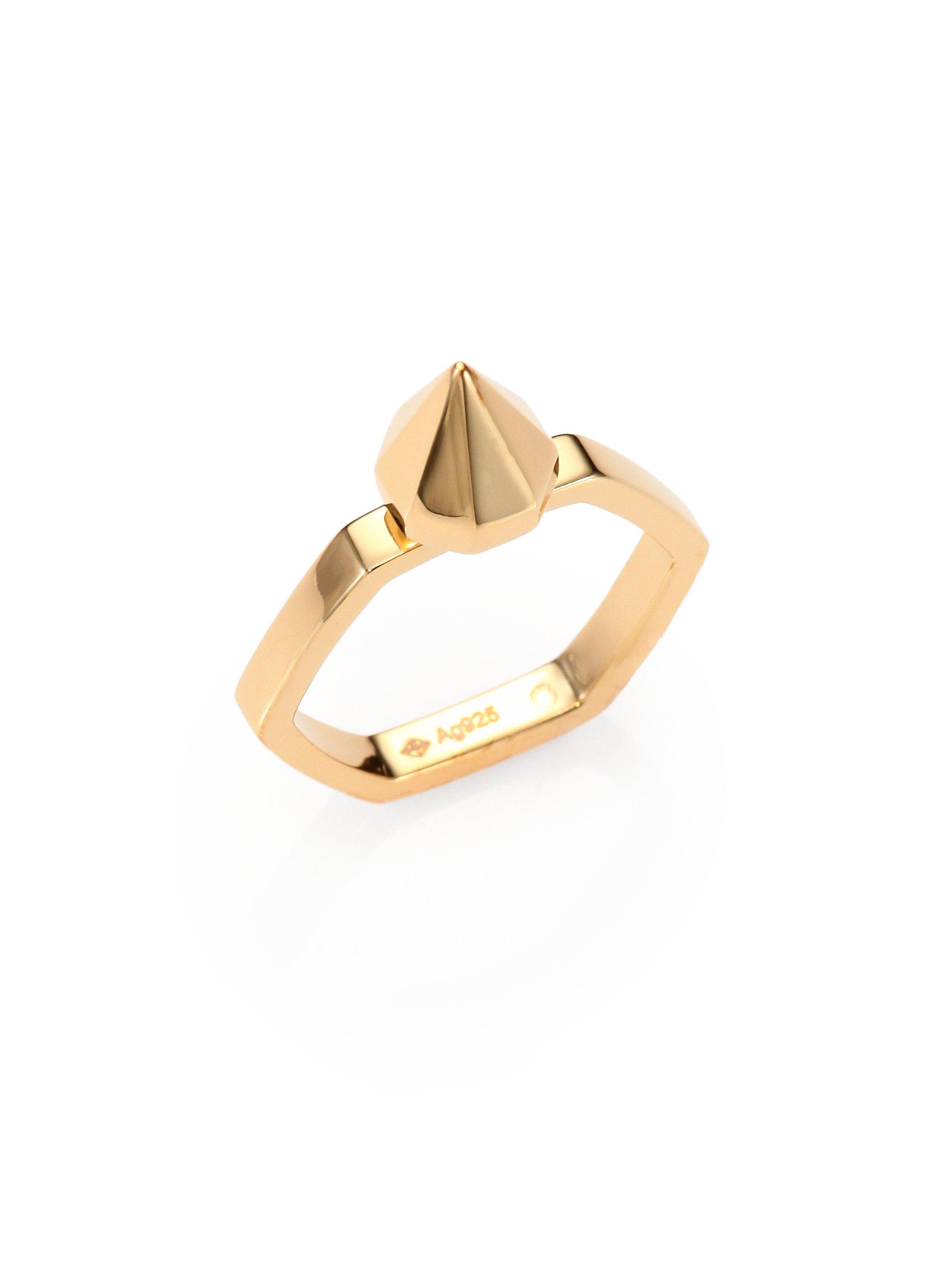 Saint Laurent Bague Exago Clou 18k Gold Vermeil Spike